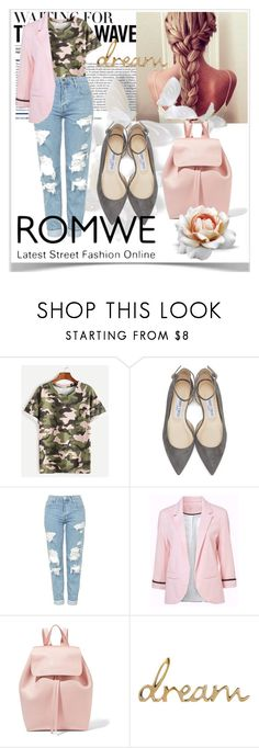 """""""Romwe"""" by samravelagic ❤ liked on Polyvore featuring Jimmy Choo, Topshop and Mansur Gavriel"""