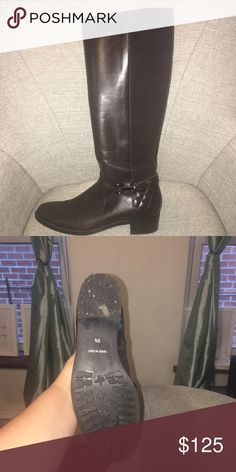 Knee high equestrian boot. Stretch backing will fit anywhere from 17' -14' calf. Aquatalia Shoes Winter & Rain Boots