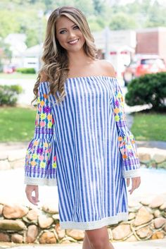 Fun Striped Dress- Embroidered Dress- Off The Shoulder Dress- $44- Juliana's Boutique
