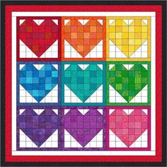 Make a dent in your stash by quickly piecing some fun and scrappy rainbow hearts. They're sure to brighten everyone's day.  Be sure to get t...