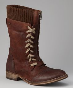 Take a look at this MTNG Brown Zip-Front Boot by Sixty Seven & MTNG on #zulily today!