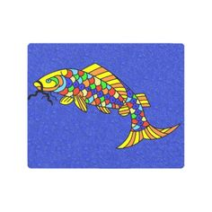 #fishing - #Abstract Fish Bright Bold Colored Scales on Blue Metal Print