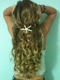 Blonde hair is pretty but look at that starfish hair clip!!