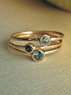 Shades of Blue stacking ring set. $445.