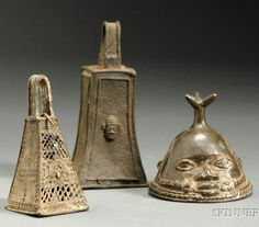 Africa | 3 bells from the Yoruba people of Nigeria | Lost wax cast bronze