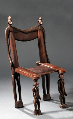 Senufo Carved Wood Chair, the front legs classic Senufo female forms, the back legs two male forms with locked arms, (minor wood loss), ht. African Crafts, African Home Decor, Metal Chairs, Cool Chairs, Black Chairs, Arm Chairs, Accent Chairs, Furniture Styles, Unique Furniture