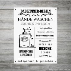 Regeln fürs Badezimmer als witzige Wanddeko, Illustration zum Selbstdrucken / p. Bathroom Rules as a Witty Wall Decor, Illustration for Self-print / Printable with Rules for the Bathroom, Funny Home