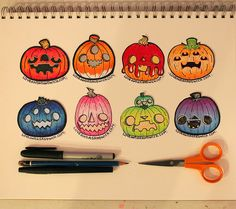 loveandasandwich:  Doodled some pumpkins to throw into my packages tonight. <3I love Halloweeeeeeeen  Is it time to draw pumpkins again yet?