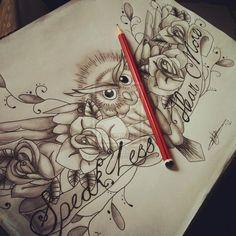 Wise old bird by =emoelmo666 Designs & Interfaces / Tattoo Design
