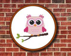 Pink Owl On Branch Cross Stitch Pattern Digital by Pattaporn, $2.99