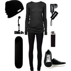 Cooler Than The Other Side Of Your Pillow /// All Black Outfits Teens Outfit Skater Girl Outfits Belly Rings Black Jeans Sexy Grunge Outfits, Cute Emo Outfits, Scene Outfits, Punk Outfits, Gothic Outfits, Outfits For Teens, Girl Outfits, Skater Outfits, Formal Outfits