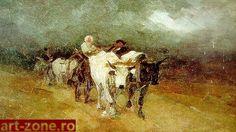 Oxen-- In amurg Care cu boi - Nicolae Grigorescu Bull Cow, Interesting History, Modernism, Color Mixing, Art History, Sculpture Art, Fine Art, Masters, Bun Bun