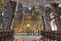 Sanctuary of the church at Rila Monastery in Bulgaria is famous for its gold-plated iconostasis