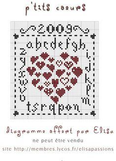 ♡♡ Hearts in cross stitch
