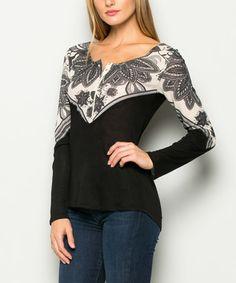 Black & Ivory Floral Shoulder-Contrast Henley