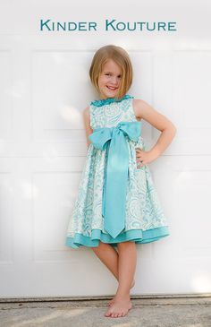 Beatrice - Girls Aqua and Ivory Dress - Sizes 6-7-8. $72.00, via Etsy. Flower girl dress