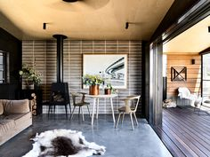 The Design Files' Most Popular Getaways Of 2019 – Freestanding fireplace wood burning Cottage, House, Interior, Maine House, Cottage Retreat, Commercial And Office Architecture, Freestanding Fireplace, New Homes, Interior Design School