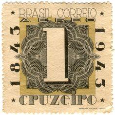 vintage postage stamps, Brazil postage stamp: centenary c. 1943, honoring...