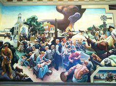 Segment of the Thomas Hart Benton murals in the House Lounge at the Missouri State Capitol