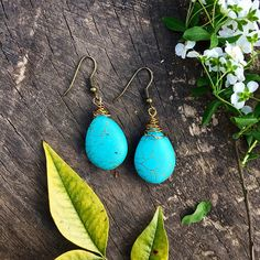 boho chic earrings, turquoise boho earrings, blue earrings, ethnic jewellery, bronze hook, uk shop, uk seller