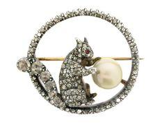 Antique pearl and diamond squirrel brooch, circa 1870 from Berganza London Hatton Garden
