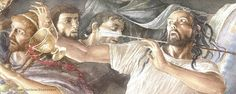 """""""...but ODYSSEUS aimed and shot ANTINOUS square in the throat, and the point went stabbing clean through the soft neck and out –and off to the side he pitched, the cup dropped from his grasp as the shaft sank home..."""" - Homer's Odyssey, Book 22 (Alan Lee/Robert Fagles/user: Aethon)"""