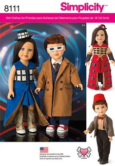 DOLL CLOTHES PATTERN / Dr Who Costume! Fits American Girl / Tardis Dress - Doctor - Steampunk -Cyberman