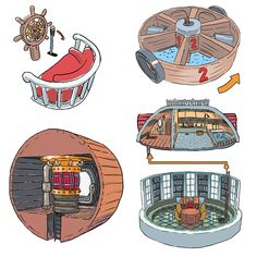 A detailed look on the various parts of the Thousand Sunny ship from the One Piece anime. One Piece Fanart, One Piece Anime, Figurine One Piece, Sunny Go, Bateau Pirate, One Piece Ship, Drawing Quotes, 0ne Piece, Ship Art