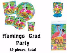 Flamingo Grad Party, Tropical Luau Graduation, Complete Party Set & Balloons  #UNIQUE #Graduation