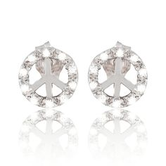 Sterling Silver CZ Round Peace Sign Stud Earrings