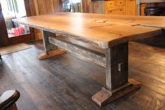 Items similar to live edge oak harvest table with trestle base and mortise and tenon joinery on Etsy Wood Slab Table, Wood Table Design, Walnut Dining Table, Wooden Dining Tables, Oak Table, Tree Table, Farm Tables, Table Designs, Dining Table In Kitchen