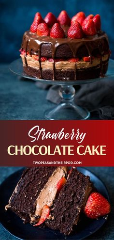The best cake recipe for your Mother's Day menu! Taste heaven in every bite of Strawberry Chocolate Cake. A moist cake with a thick layer of buttercream frosting is drizzled in chocolate ganache and. Amazing Chocolate Cake Recipe, Best Chocolate Cake, Chocolate Ganache, Chocolate Recipes, Chocolate Covered, Chocolate Strawberry Cake, Strawberry Cake Recipes, Chocolate Strawberries, Best Cake Recipes