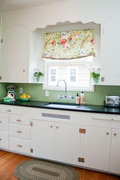 Like the color, just nice idea to match wall color to curtain cover. Maybe yellow accents in kitchen