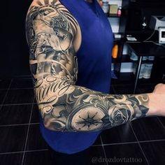 Badass sleeve tattoo 🔥🔥🔥 Artist I Badass Sleeve Tattoos, Full Sleeve Tattoos, Tattoo Sleeve Designs, Rose Tattoos, Body Art Tattoos, New Tattoos, Tattoos For Guys, Mangas Tattoo, Religious Tattoos