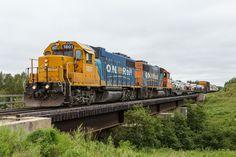 Polar Bear Express train heads into Moosonee behind GP38-2s 1801 and 1806.