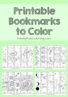Free printable bookmarks to color for fun and to encourage reading. Also find more printables to color and coloring pages.