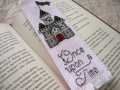 Cross stitch bookmark - Once upon time, embroidered bookmark, gift for readers, book lover by MariAnnieArt on Etsy #mariannieart #etsy #crossstitch #bookamark #crossstitchbookmark #bookworm #booklovergift #geekgift #booknerd