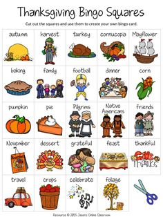 by Jason's Online Classroom Grade Thanksgiving Free Create Your Own Luck Bingo - This resource includes 24 Thanksgiving relat. Thanksgiving Bingo, Thanksgiving Activities, Thanksgiving Crafts, Fun Classroom Activities, Abc Activities, Bingo Card Template, First Grade Lessons, Long Vowels, Language Arts