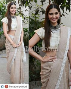 Sonam Kapoor in Anavika handwoven beige saree for her movie Prem Ratan Dhan Paayo Conference Indian Attire, Indian Wear, Ethnic Fashion, Indian Fashion, Indian Dresses, Indian Outfits, Desi Wear, Stylish Sarees, Elegant Saree