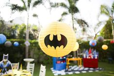 Batman paper lantern from a Calling All Superheroes Birthday Party on Kara's Party Ideas   KarasPartyIdeas.com (43)
