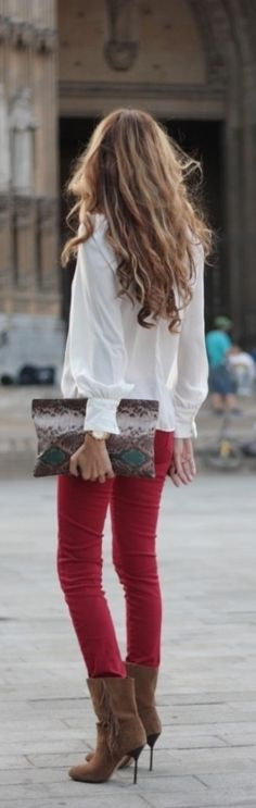 Red skinnies, brown ankle boots, clutch and a white blouse fabulous for Fall!