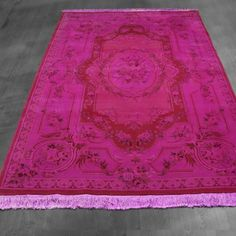 5x8 Overdyed Aubusson Floral Hot Pink Rug woh-2528