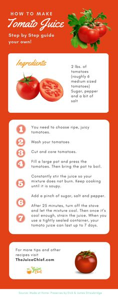 Read this easy step by step guide for how to make tomato juice, and try at home yourself today !  Get more recipes via TheJuiceChief.com