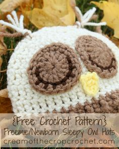 Cream of the Crop Crochet~Preemie/Newborn Sleepy Owl Hat {free #crochet pattern} #handmade #baby