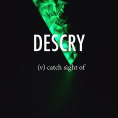 Descry |diˈskrī| Middle English origin perhaps confused with obsolete descry'describe,' variant of obsolete descrive (via Old French from Latin describere 'write down'), which also had the meaning 'perceive.'