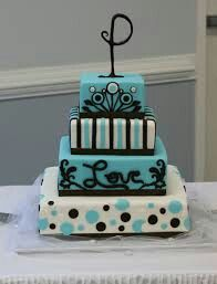 Wedding Cake! Pretty Teal and Cream
