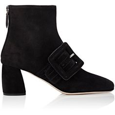 Miu Miu Women's Square-Toe Ankle Boots (3,930 CNY) ❤ liked on Polyvore featuring shoes, boots, ankle booties, ankle boots, black, buckle ankle boots, black suede booties, black boots, black bootie boots and black booties