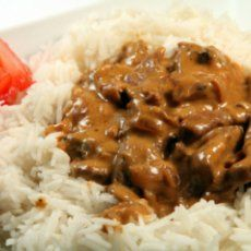 TVP Stroganoff. Would nix the margarine and substitute Greek yogurt for the sour cream.