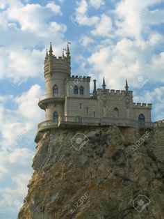 Old Castle On Cliff, Cloudy Sky Stock Photo, Picture And Royalty ...