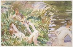 "John Singer Sargent (American, 1856-1925). Tommies Bathing, 1918. The Metropolitan Museum of Art, New York. Gift of Mrs. Francis Ormond, 1950 (50.130.58) | This work is in our ""Sargent: Portraits of Artists and Friends."""